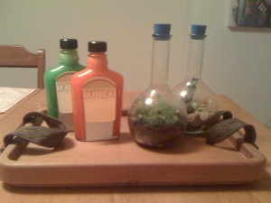 Skittles Vodka, flask terrariums, tea tray